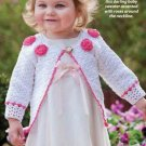 W289 Crochet PATTERN ONLY Rickrack & Roses Baby Sweater Pattern