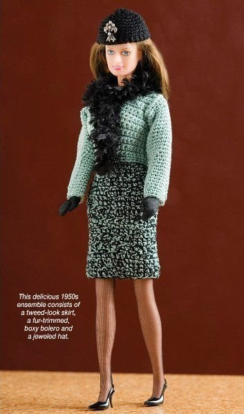 W319 Crochet PATTERN ONLY Fashion Doll 1950's Mint Chocolate Chip Outfit Pattern