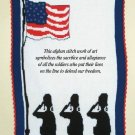 W350 Crochet PATTERN ONLY Break of Dawn Liberty Flag Military Afghan Pattern