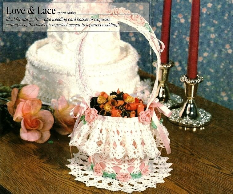 W026 Crochet PATTERN ONLY Love and Lace Delicate Basket Pattern Wedding Easter