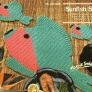 X327 Crochet PATTERN ONLY Sunfish Placemat, Potholder & Coaster Pattern Set