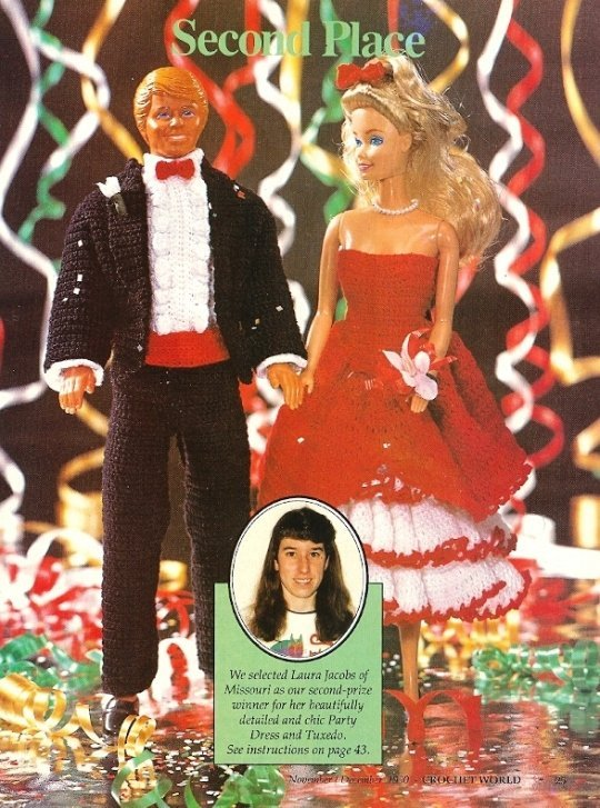 X233 Crochet PATTERN ONLY Fashion Doll Party Dress & Tuxedo Duo Barbie Ken