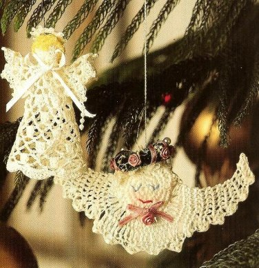 Y713 Crochet PATTERN ONLY 2 Little Angels Christmas Ornament Patterns
