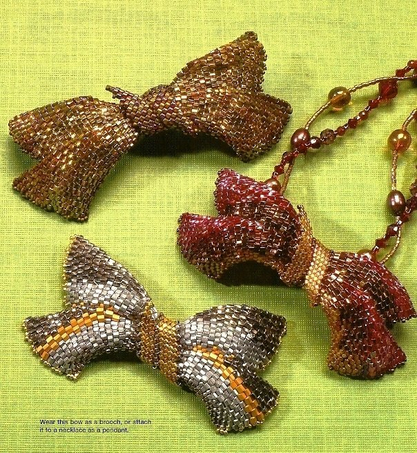 X612 Bead PATTERN ONLY Beaded Bow Brooch or Pendant