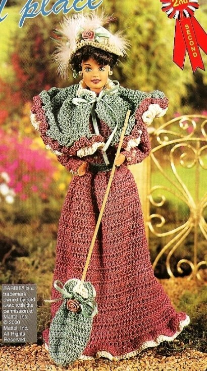 X520 Crochet PATTERN ONLY Fashion Doll Paris Walking Costume & Wrap Pattern