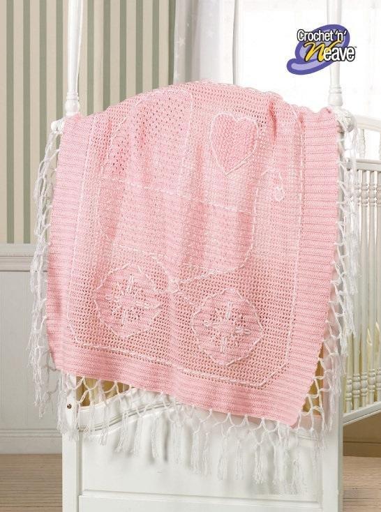 X768 Crochet PATTERN ONLY Crochet �n Weave Baby Carriage Blanket Pattern