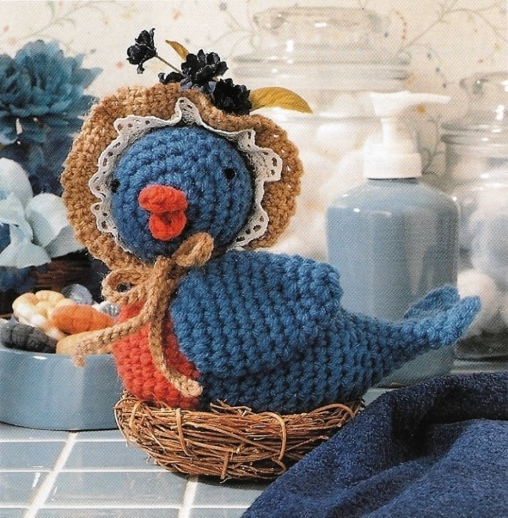 Y148 Crochet PATTERN ONLY Nesting Blue Bird with Hat Toy Doll