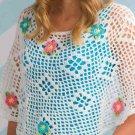 W362 Crochet PATTERN ONLY Flower Box Poncho Pattern