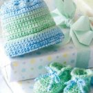 W060 Crochet PATTERN ONLY Baby Booties and Hat Patterns
