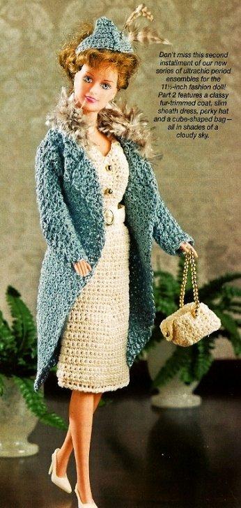 X193 Crochet PATTERN ONLY 1940's Moody Blue Fashion Doll Ensemble Pattern