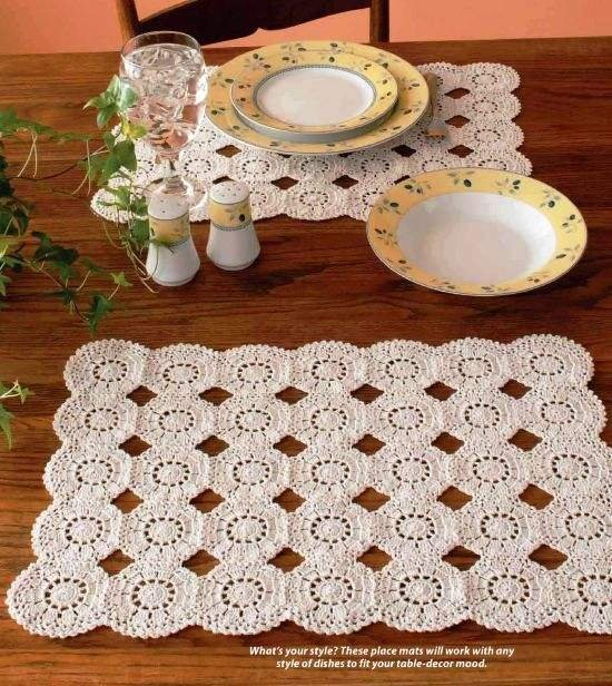 W065 Crochet PATTERN ONLY Round Motif Place Mat Pattern Placemat