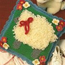 X359 Crochet PATTERN ONLY Sheep or Lamb in the Garden Pillow Pattern