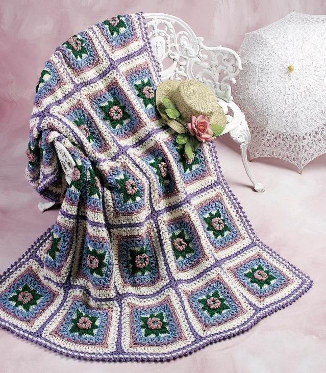W139 Crochet PATTERN ONLY Shadow Box Rose Afghan Pattern