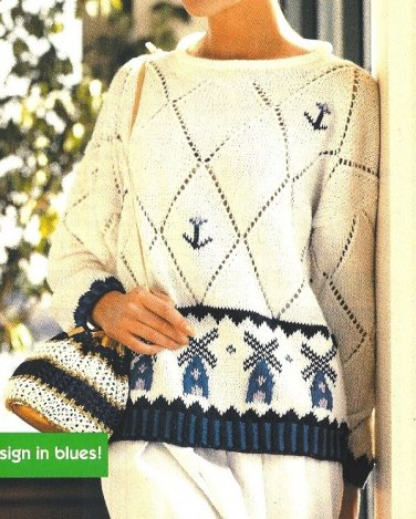 X052 Knit PATTERN ONLY Dutch Inspired Delft Tile & Lace Sweater Pattern