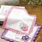 Y865 Crochet PATTERN ONLY Flower Pocket Hankerchiefs Patterns Pansy Rose