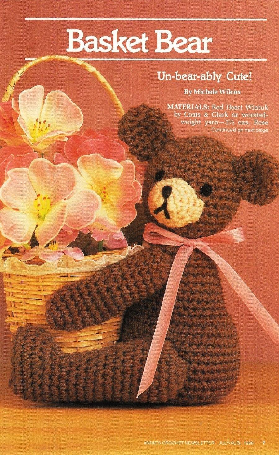 X553 Crochet PATTERN ONLY Cute Basket Teddy Bear Pattern
