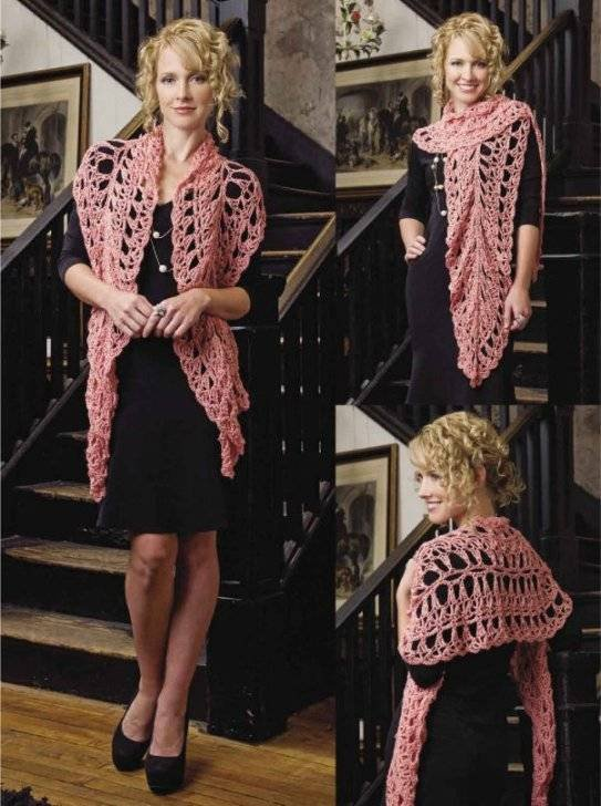 X760 Crochet PATTERN ONLY Lacy Circle Edge Wrap Shawl