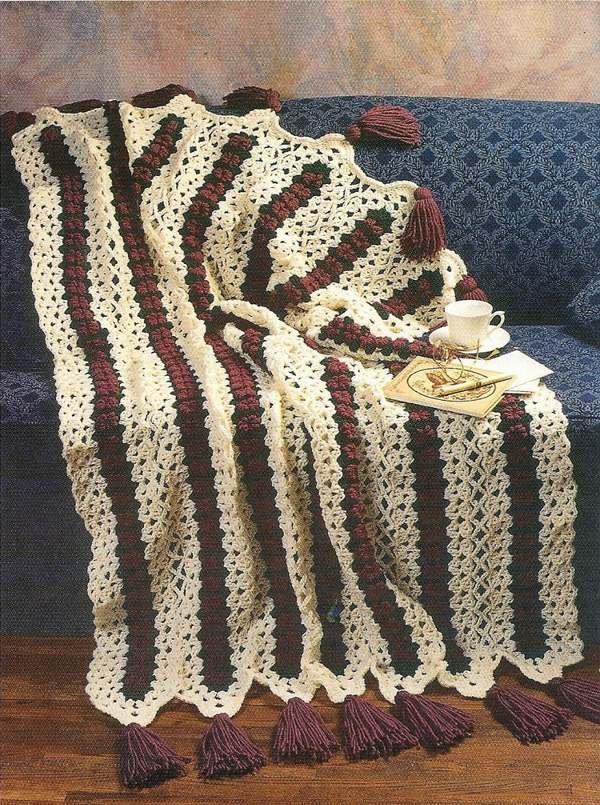 X209 Crochet PATTERN ONLY Budding Lace Afghan Pattern & Place Mats