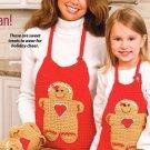 X454 Crochet PATTERN ONLY Gingerbread Man Apron Oven Mitt & Puppet Pattern