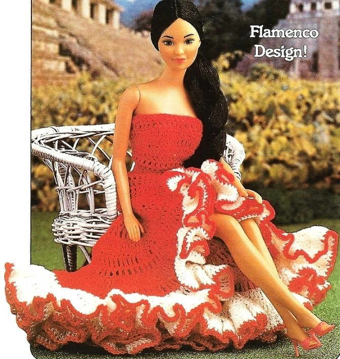X509 Crochet PATTERN ONLY Senorita�s Dress Fashion Dolls or Barbie Pattern