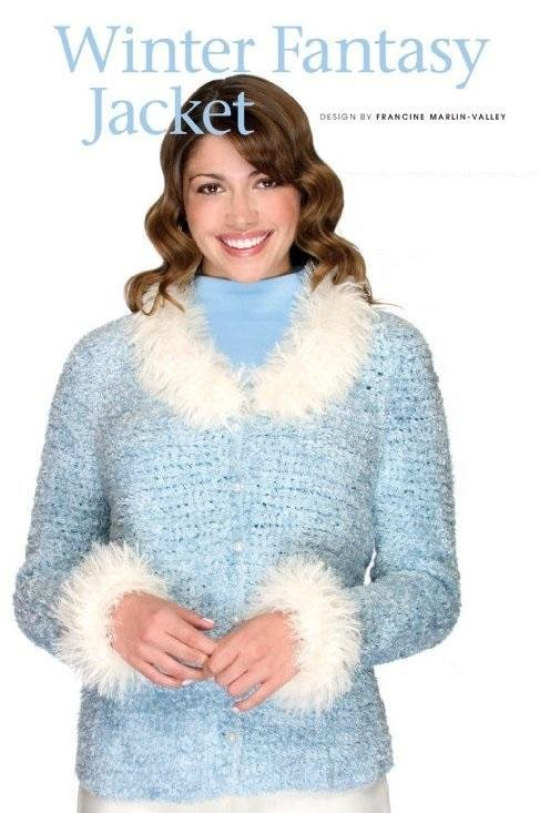 Y882 Crochet PATTERN ONLY Ladies Winter Fantasy Furry Jacket Pattern