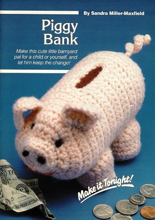 W199 Crochet PATTERN ONLY Piggy Bank Toy Pig Pattern