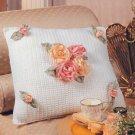 W195 Crochet PATTERN ONLY Gathered Ribbon Rose Pillow Pattern