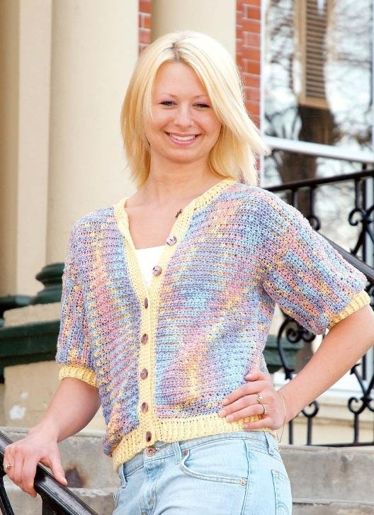 W183 Crochet PATTERN ONLY Short-Sleeve Cardigan Sweater Pattern