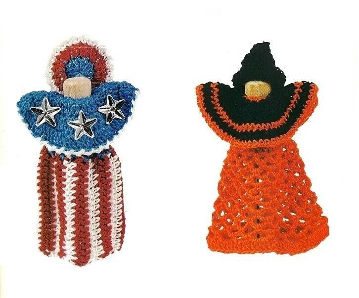 Y549 Crochet PATTERN ONLY All American & Witch Clothespin Dolls Patterns