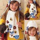 X533 Crochet PATTERN ONLY Snow Flower Hat & Scarf Set Pattern