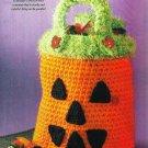 X633 Crochet PATTERN ONLY Trick or Treat Halloween Pumpkin Bag