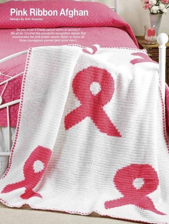 Y835 Crochet PATTERN ONLY Pink Ribbon Afghan Throw Pattern