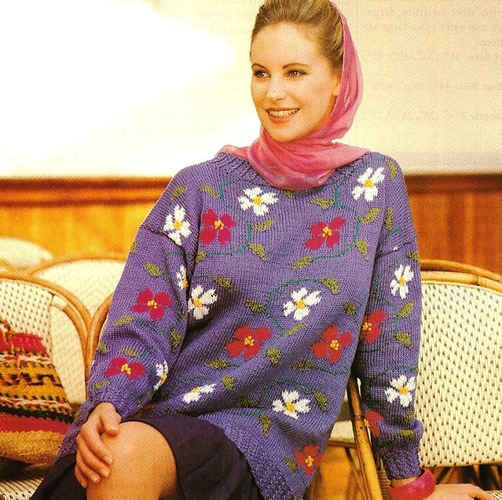 X390 Knit PATTERN ONLY Dogwood Flower Pullover Sweater Size Small to 2XL Pattern