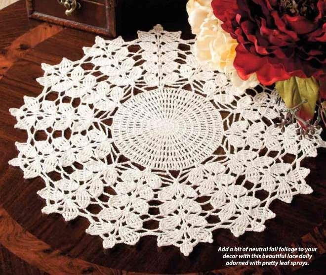 Y814 Crochet PATTERN ONLY Leafy Stems Fall Doily Pattern