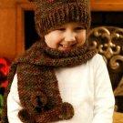 Y772 Crochet PATTERN ONLY Teddy Bear Motif Hat, Scarf & Mittens Set for Children