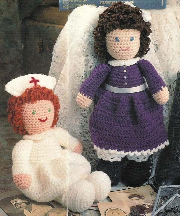 X773 Crochet PATTERN ONLY Nurse & Young Girl Doll and Clothes Toy