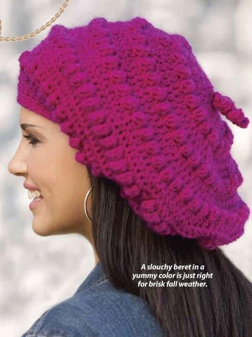 Y786 Crochet PATTERN ONLY Ladies Bobbled Beret Pattern