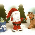 Y237 Crochet PATTERN ONLY Rudolph Reindeer Santa & Bag Christmas Ornament Dolls