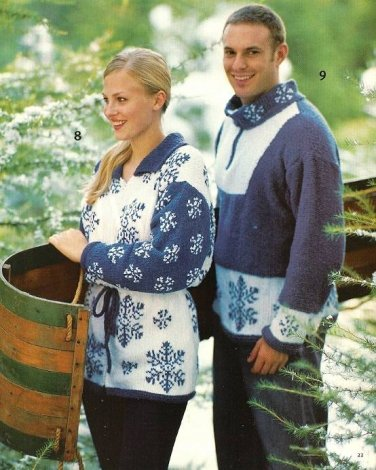 Y169 Knit PATTERN ONLY His and Hers Snowflake Pullover Sweater
