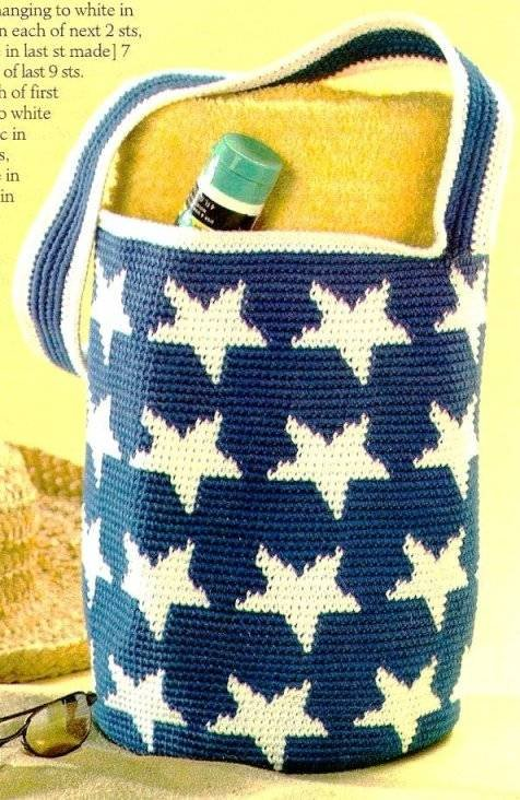 X032 Crochet PATTERN ONLY Patriotic Star Satchel Tote Bag Pattern