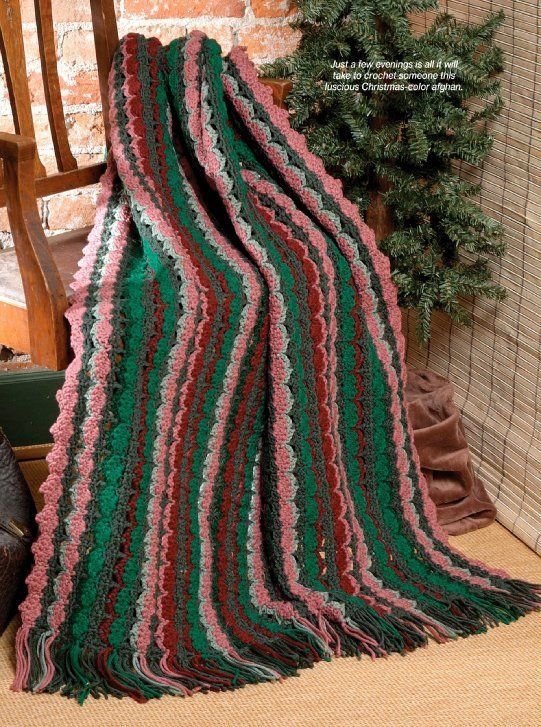 X048 Crochet PATTERN ONLY Berries and Evergreens Afghan Pattern