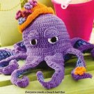 X896 Crochet PATTERN ONLY Octopus Toy Doll with Hat