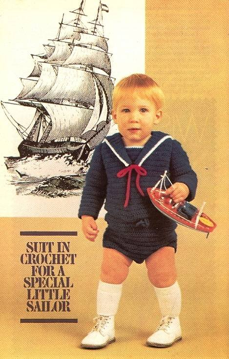 Y473 Crochet PATTERN ONLY Baby or Toddler Sailor Suit Pattern