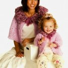 Y775 Crochet PATTERN ONLY Mom's Plush Capelet and Daughter's Cardigan & Hat Patt