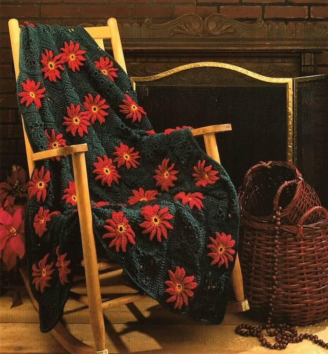 Y575 Crochet PATTERN ONLY Poinsettias Granny Square Afghan Pattern