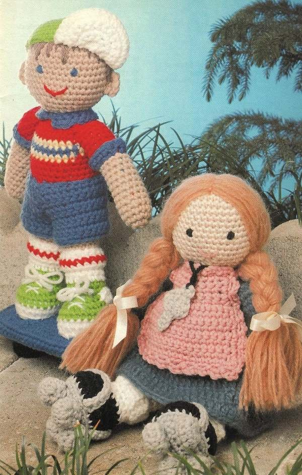 X962 Crochet PATTERN ONLY Debbie & Dickie Dolls Toys Boy Girl