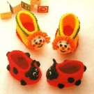 X688 Crochet PATTERN ONLY Clown & Ladybug Bootie Pattern