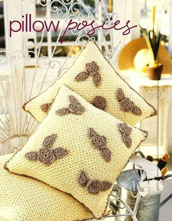 Y173 Crochet PATTERN ONLY Floral Pillow Posies Flower Pattern Leaves