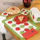 Y987 Crochet PATTERN ONLY Apple Kitchen Set Place Mat Pot Holder Towel Topper