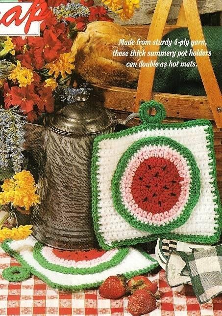 Y607 Crochet PATTERN ONLY Summer Watermelon Pot Holder or Hot Mats Patterns